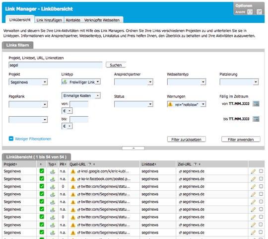 Mit dem Link Manager werden die Daten aus den Google Webmaster Tools noch wertvoller