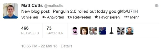 Penguin-Update 2.0: Tweet von Matt Cutts