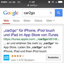 SERP car2go - mobile iOS thumbnail