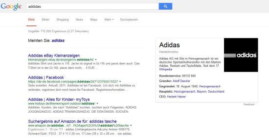 """Google-SERP """"addidas"""" vom 07.02.2015"""