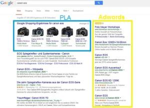 Google-SERPs mit PLA und Adwords
