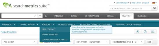 Searchmetrics Suite - Page Forecast Navigation