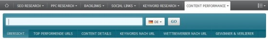 Searchmetrics Content Performance - Navigation