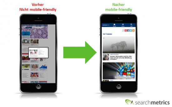 wissen.de: Screenshot Mobile vorher-nachher