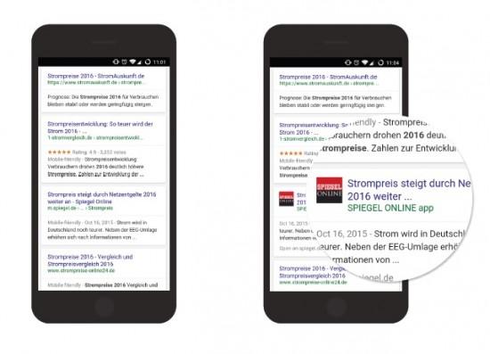 """Google-Suche nach """"Strompreis 2016"""" ohne und mit installierter Spiegel Online-App"""