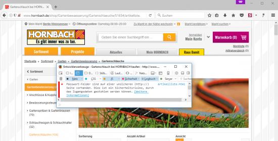 Hornbach HTTP-Warnung Firefox