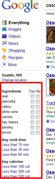 Why no list of ingredients in the Google sidebar?