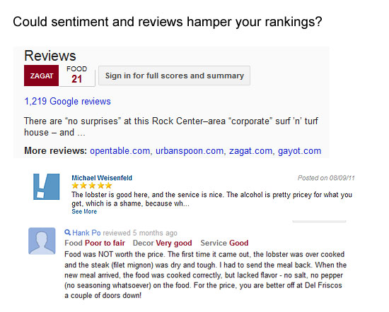 Google and sentiment analysis