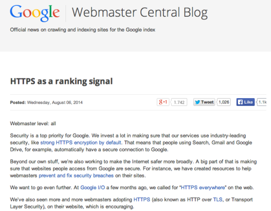 webmaster central blog https ranking factor