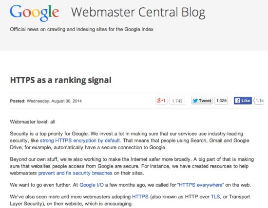 webmaster central blog https ranking factor