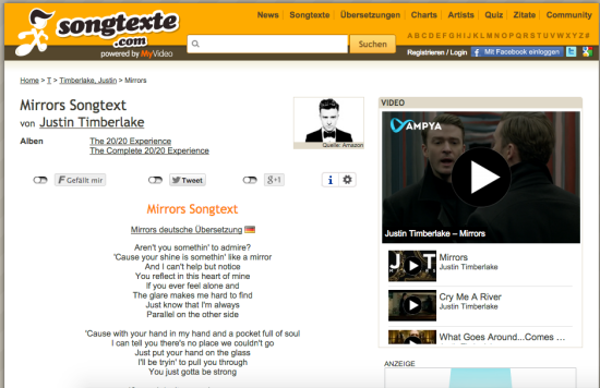 Screenshot songtexte.com