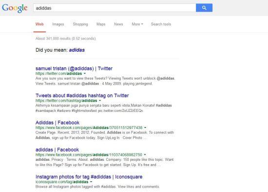 SERP Google - adiddas