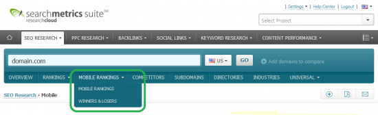 Searchmetrics Suite - Mobile Research section