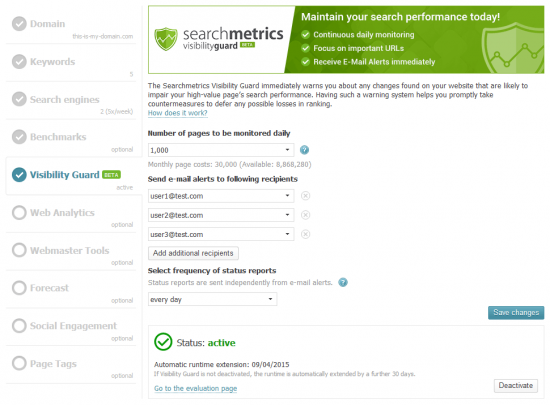 Searchmetrics Visibility Guard - Project Wizard