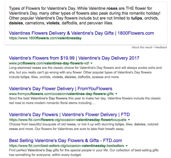 Ordering flowers on Google.com in the US