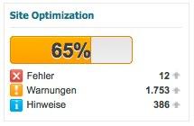 Schon im Dashboar im Blick: Die Site Optimization