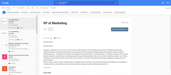 marketing jobs - Google Job Landingpage