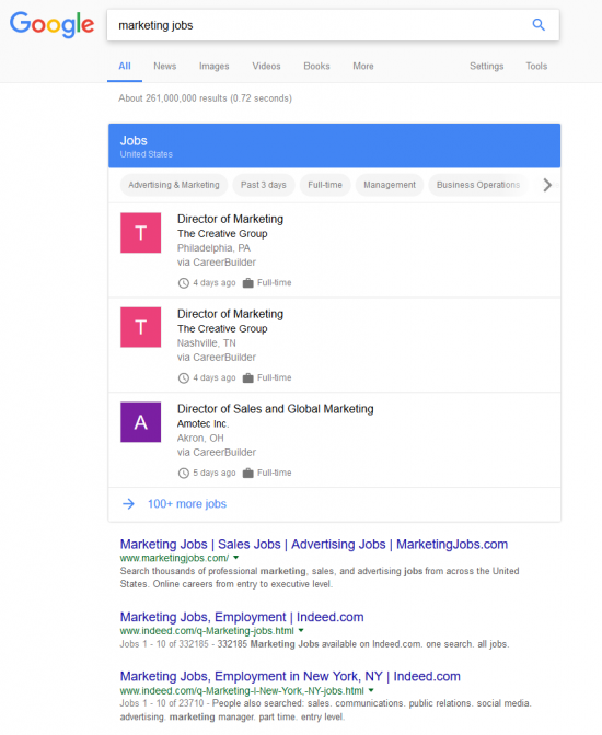 marketing jobs - Google.com search