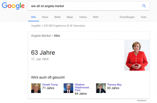 "Information Container - Featured Snippet - Suchanfrage ""Wie alt ist Angela Merkel?"""