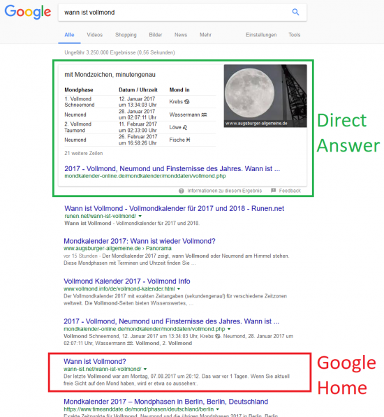 "Direct Answer - Featured Snippet - Google Home - Suchanfrage ""Wann ist Vollmond?"""