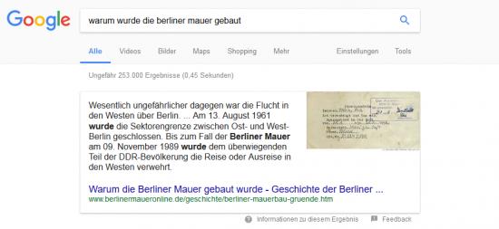"""Direct Answer - Featured Snippet - Suchanfrage """"Warum wurde die Berliner Mauer gebaut?"""""""