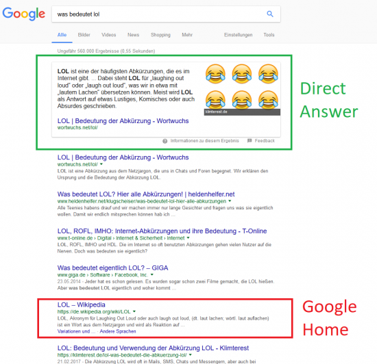 "Direct Answer - Featured Snippet - Google Home - Suchanfrage ""Was bedeutet LOL?"""