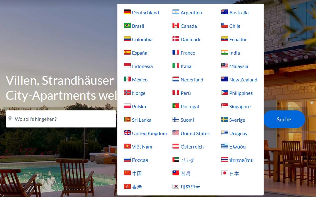 Auswahl der Sprach- und Landes-Version am Beispiel FeWo-direkt