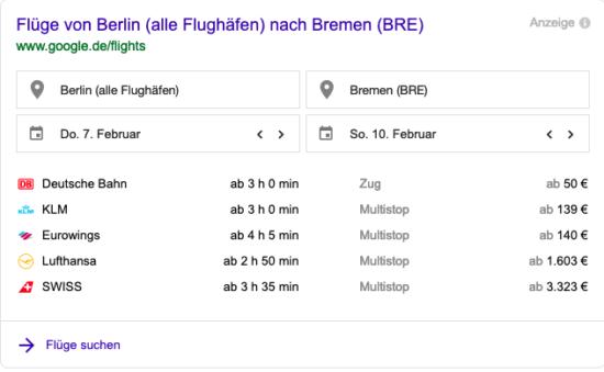 Google Flights Abbildung für Flug von Berlin nach Bremen