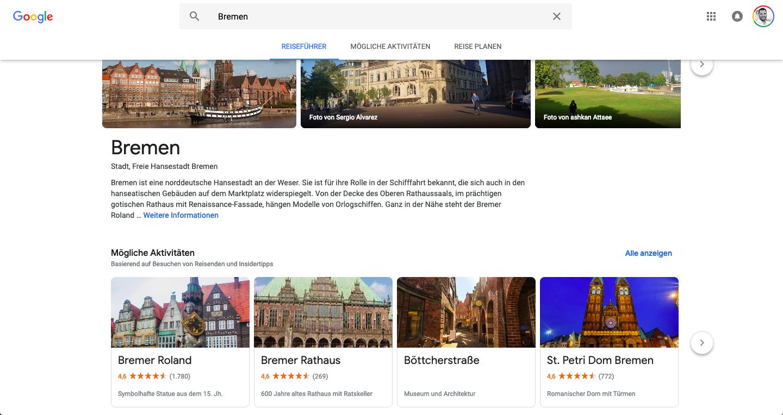 Google Reiseführer für die Stadt Bremen