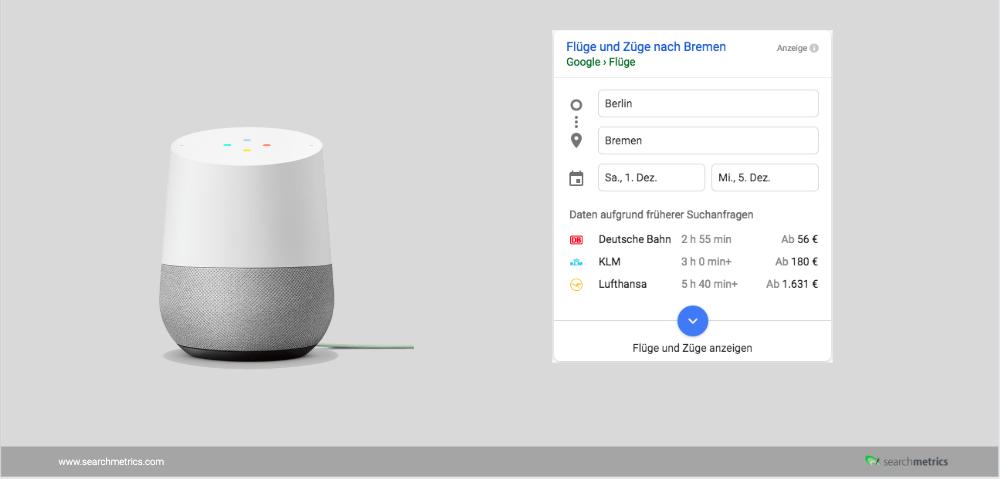 Google Home mit Voice Suchergebniss für Flüge von Berlin nach Bremen