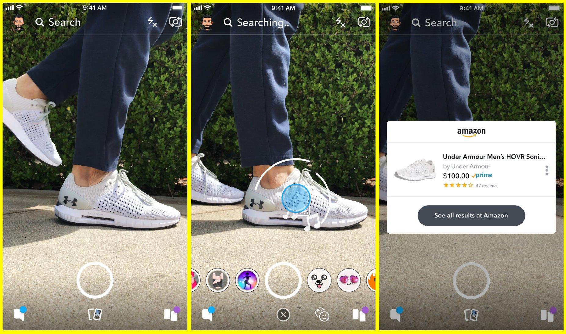 Über Visual Search in Snapchat bei Amazon einkaufen