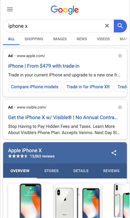 Screenshot einer Suchergebnisseite mit Adwords für Iphone X