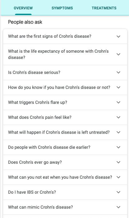 Screenshot von einer SERP zum Thema Crohn`s disease mit