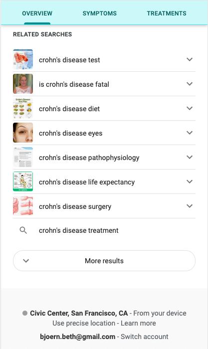 Screenshot einer Suchresultatseite bei Google mit Related Search Integration beim Thema Morbus Crohn