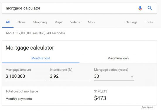 google-mortgage-calculator