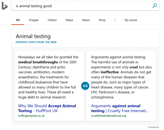 Bing shows perspectives from the web for controversioal topics.