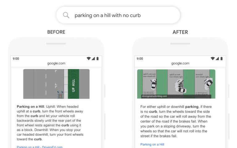 Google BERT Update Query Parking on a hill with no curb