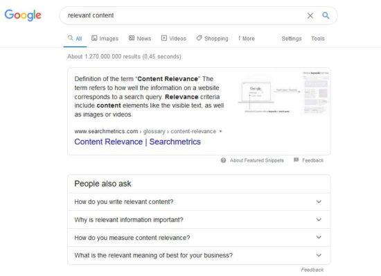 schema.org - Example relevant content