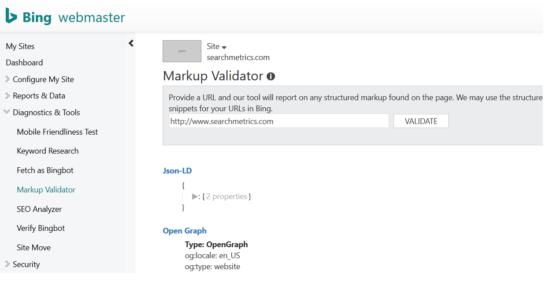 schema.org - Bing Markup Validator