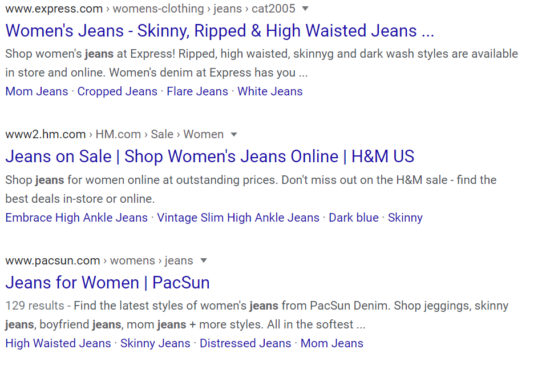 "Image of Search ""Jeans"" on Google"