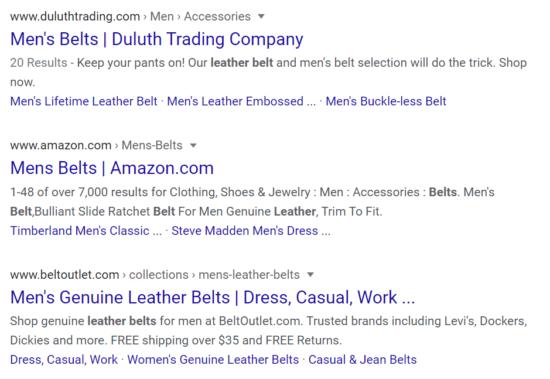 "Image of Google Search on ""Men's Belt"""