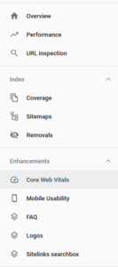Search Console Menu: Core Web Vitals