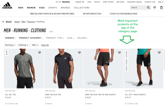example of ecommerce category page