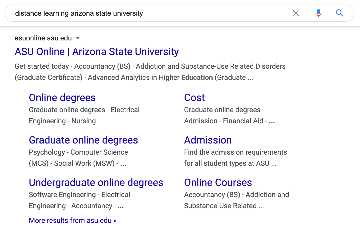 Search engine results for 'distance learning arizona state university'