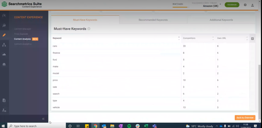Screen shot of must have keywords from Content Analysis